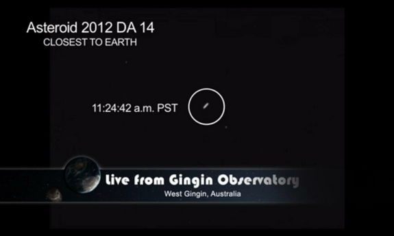 Asteroid 2012 DA14 is seen at closest approach to the Earth on Feb. 15, 2013 (EST).