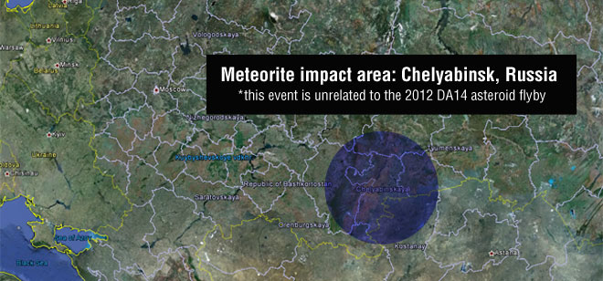 Russian Meteor Explosion Map: Feb. 15, 2013