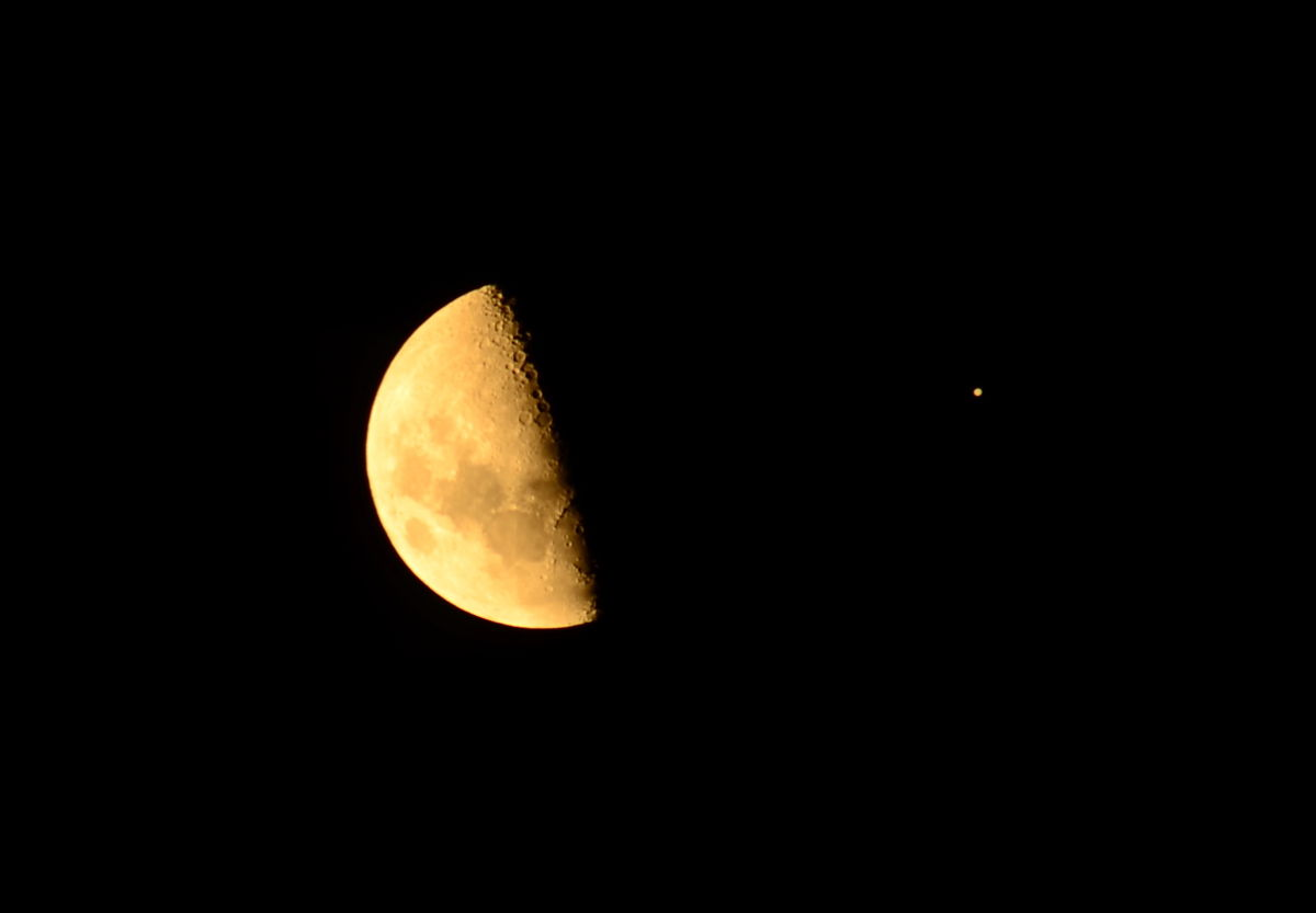 Jupiter and the Moon Seen Over Ballarat, Australia