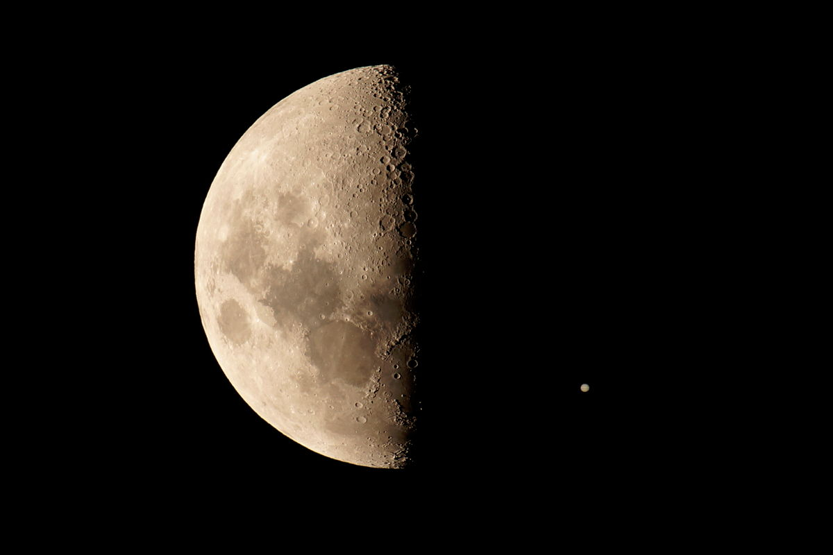 Jupiter and the Moon Seen Over Perth, Western Australia