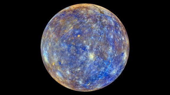 This colorful view of Mercury was produced by using images from the color base map imaging campaign during MESSENGER's primary mission. These colors are not what Mercury would look like to the human eye, but rather the colors enhance the chemical, mineralogical, and physical differences between the rocks that make up Mercury's surface. Image released Feb 18, 2013.