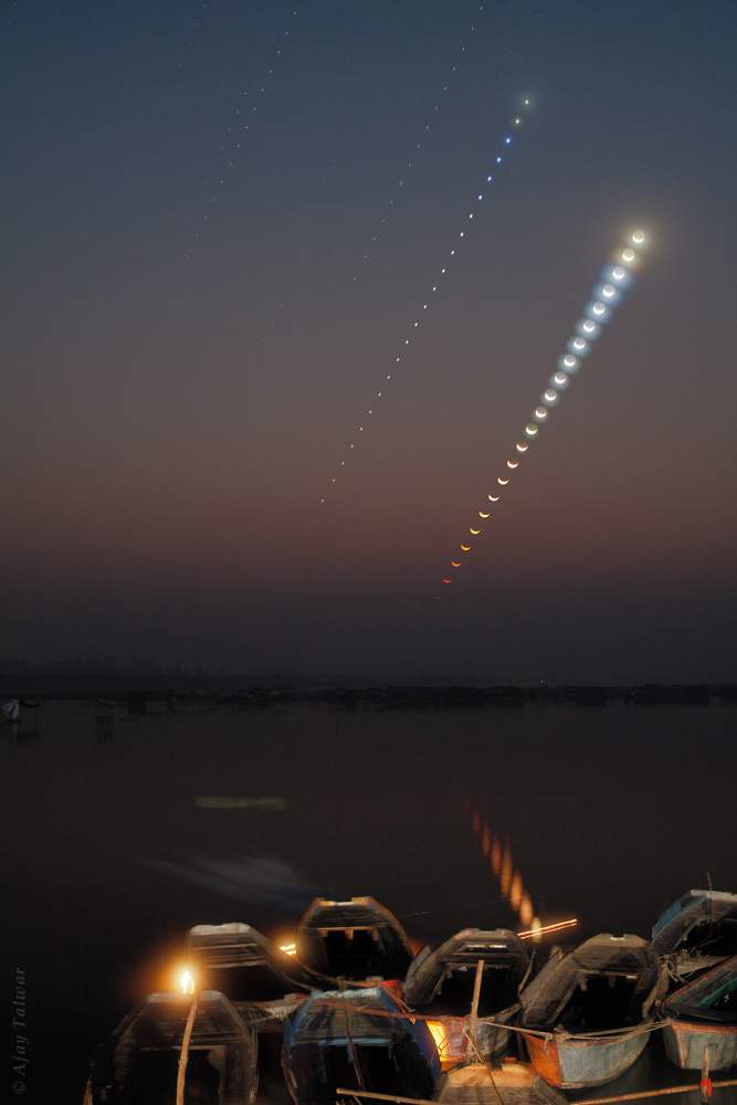 Moonrise Venus Photo Sequence Over Ganges River Talwar