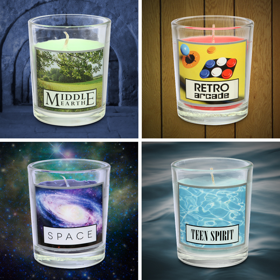 This set of four candles includes the smell of space.