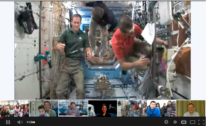 ISS Astronauts Floating Away After Google+ Hangout