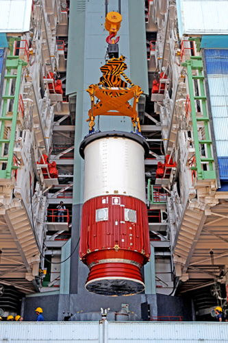 India's PSLV-C20 Rocket First Stage Hoisted