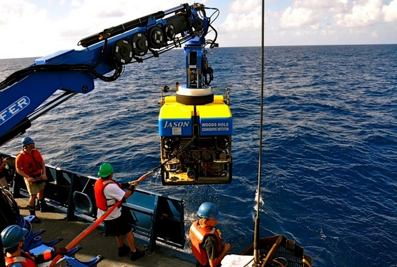 The remotely operated vehicle (ROV) Jason returns from a dive to a deep-sea vent.