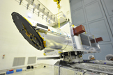 A close-up of the Canadian Space Agency's NEOSSat asteroid-tracking satellite, which launches in February 2013 to search for large space rocks and space debris.