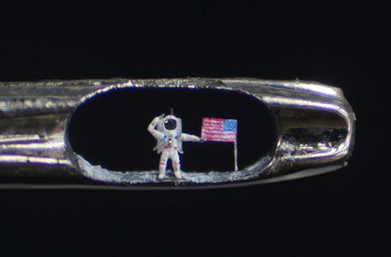 Artist Creates Tiny Buzz Aldrin Moonwalker in Eye of Needle