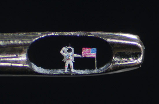 Artist Creates Tiny Buzz Aldrin Moonwalker in Eye of Needle