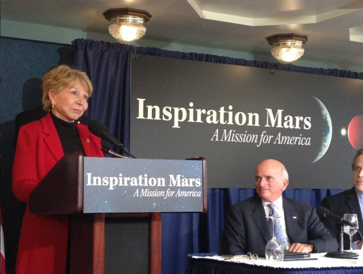 June Scobee Rodgers Speaks at Inspiration Mars Press Conference
