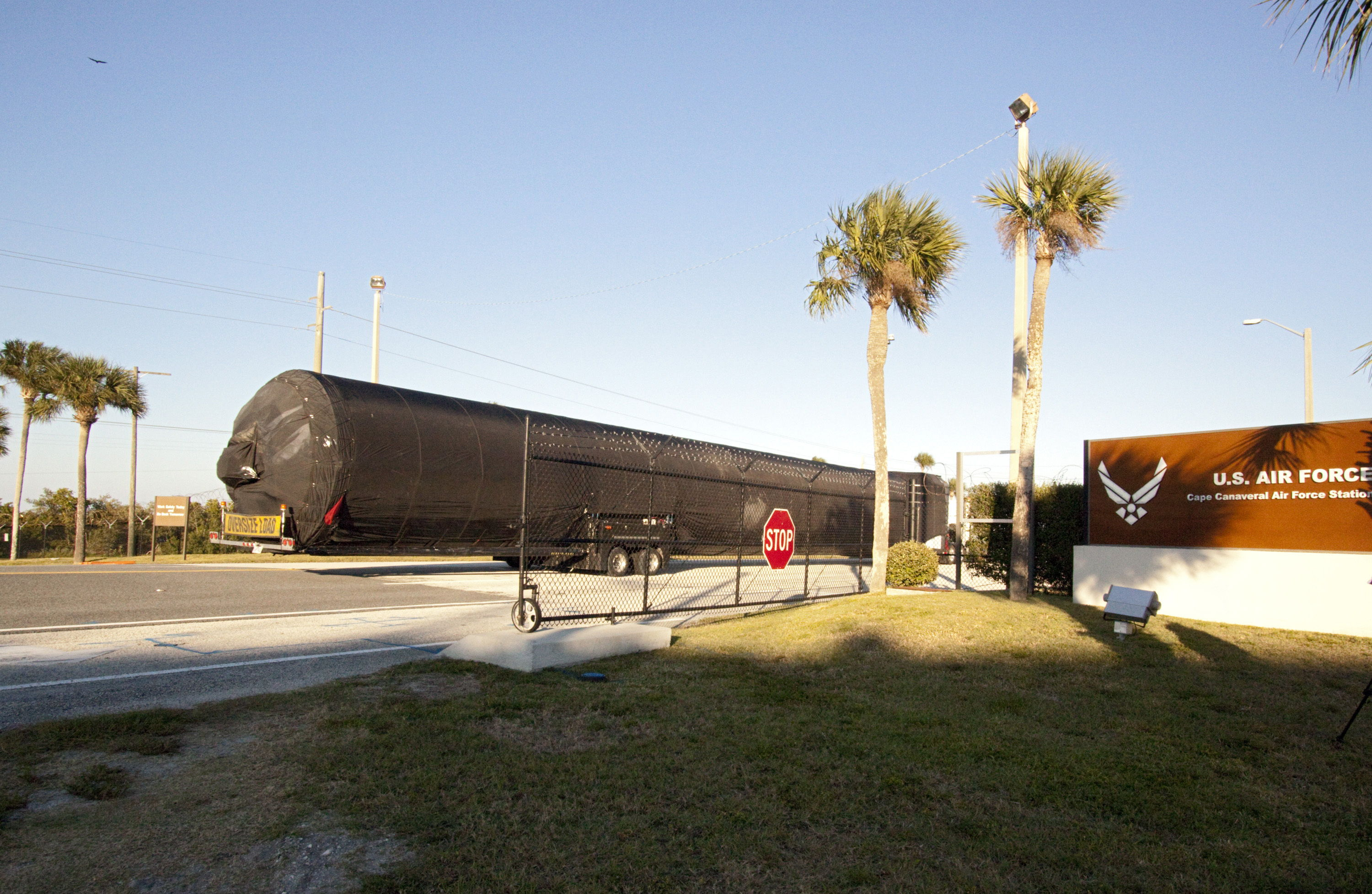 SpaceX Falcon 9 First Stage Arrives at Cape Canaveral