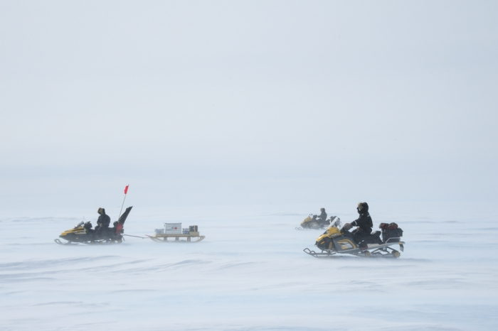 Skidoos in V-Shaped Formation in Antarctica