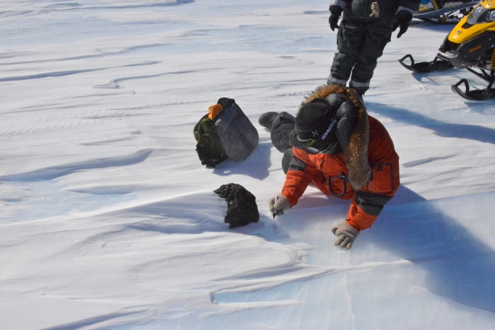 Examining the Meteorite on Nansen Ice Field