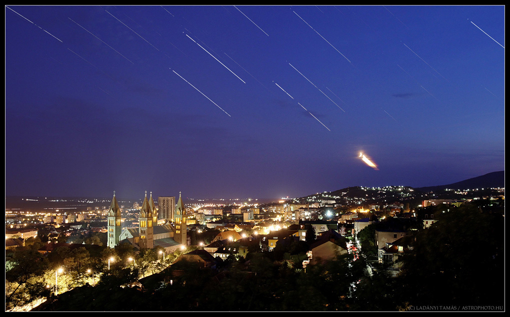 Star Trails Streak Over Historic Hungary