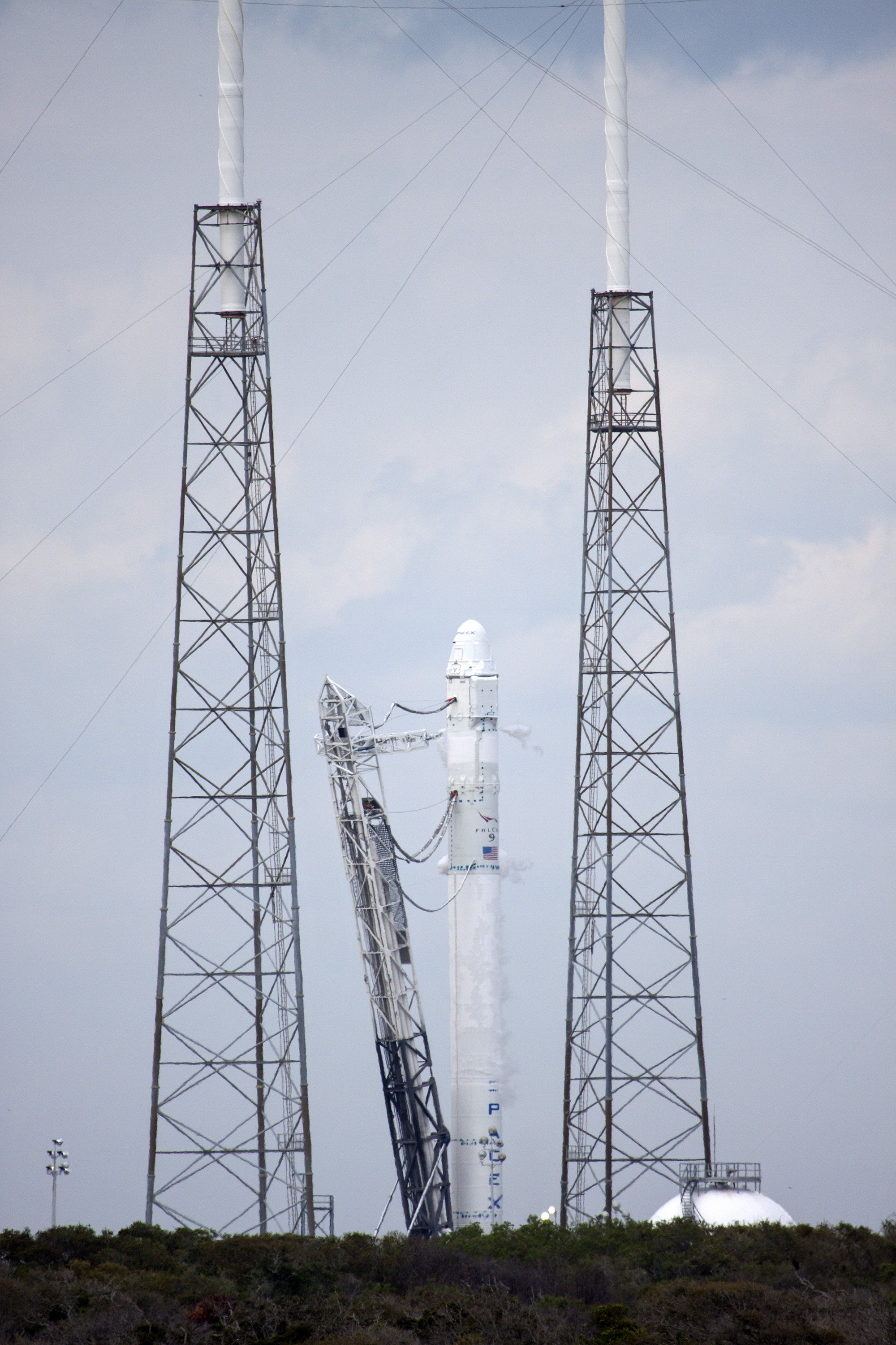 SpaceX Falcon 9 Rocket Standing on Launch Complex 40