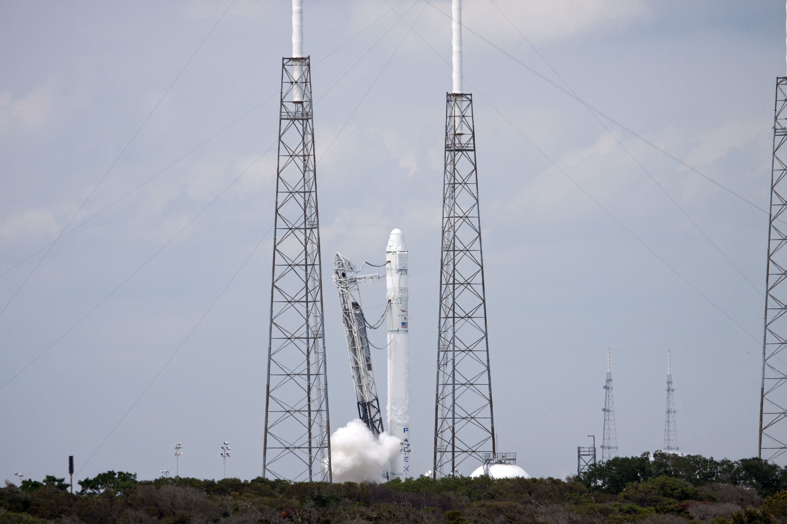 Smoke Billows From Falcon 9 Engines
