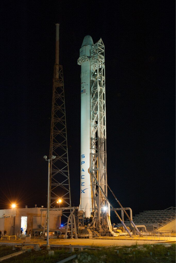 Falcon 9 Rocket Vertical on Launch Pad