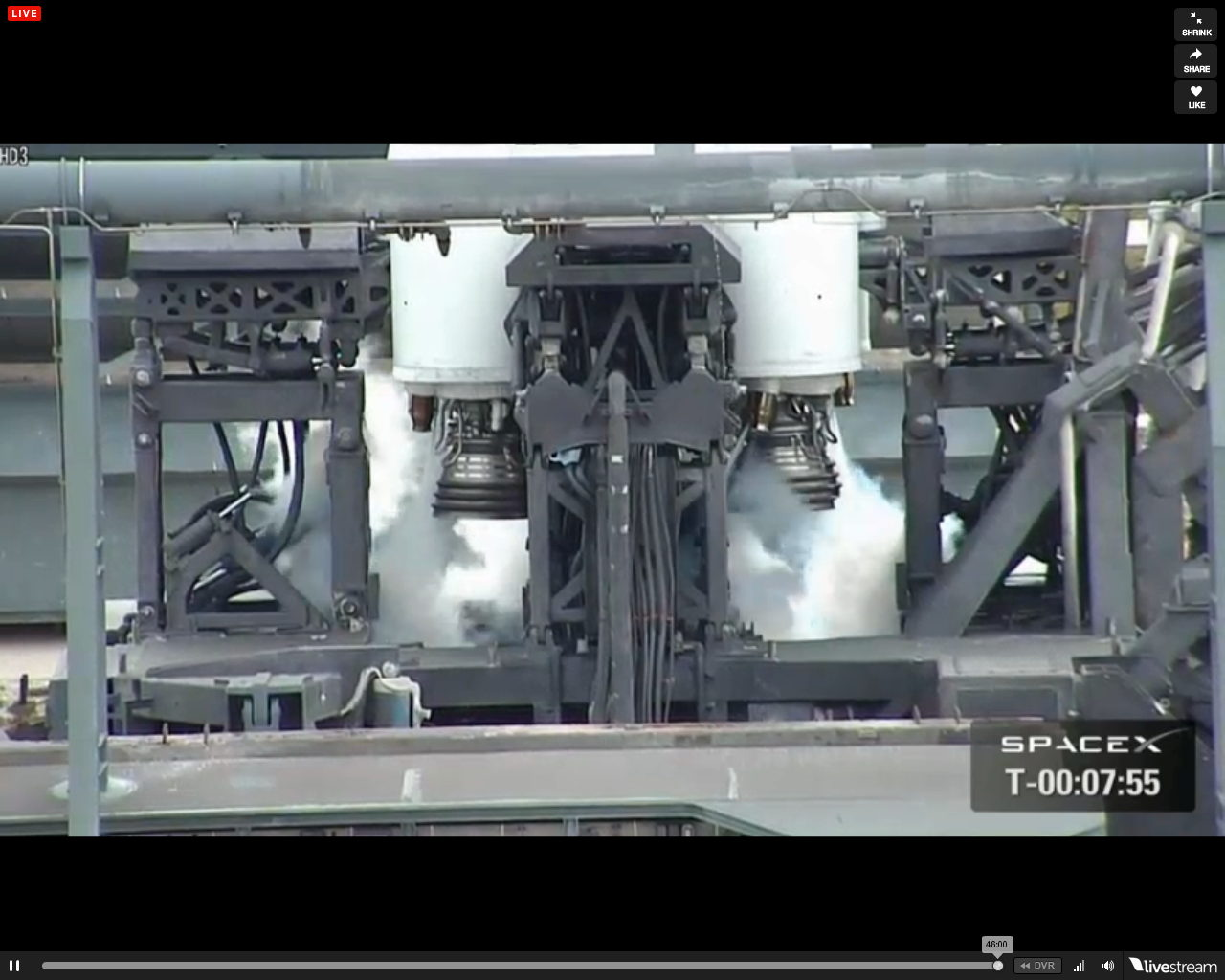 SpaceX's Falcon 9 Engines Venting Prelaunch