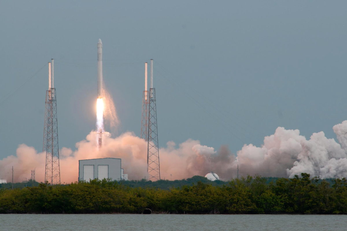 SpaceX's Falcon 9 Launches to International Space Station Wide Shot