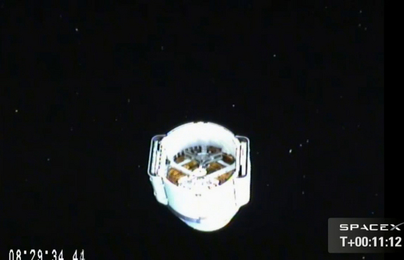 SpaceX's Dragon space capsule is seen from a camera aboard its Falcon 9 rocket after separating from the booster following its March 1, 2013 launch toward the International Space Station on the second cargo mission for NASA. The spacecraft launched from Cape Canaveral Air Force Station, Fla., at 10:10 a.m. ET.