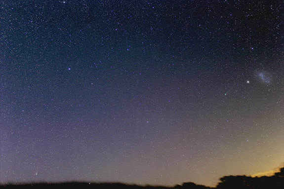 "Astrophotographer Justin Tilbrook of Penwortham, South Australia, caught this photo of Comets Lemmon (bottom left) and Pan-STARRS (right near the Small Magellanic Cloud) together on Feb. 17. 2013. He writes: ""This is the one I've been waiting for…. Don't mind saying it was difficult to set this up, a narrow window before sunrise, 4 degrees of hill in the way, limitations with the dome slit and having to mount the camera at the front of the scope at a very odd angle. Took about an hour."""