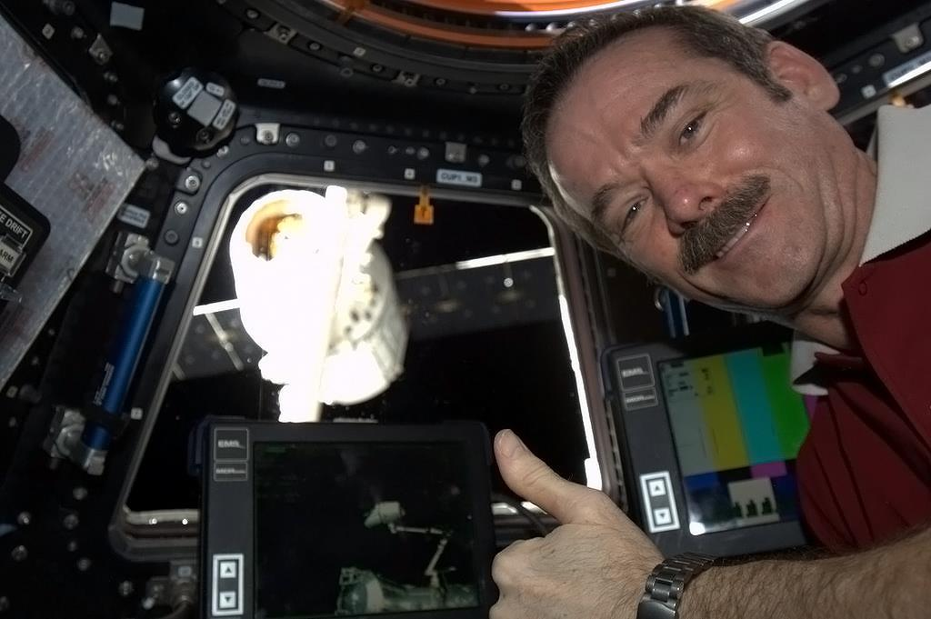 Chris Hadfield with the Dragon