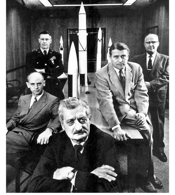 Hermann Oberth (center), was the mentor of Wernher von Braun (second from right).