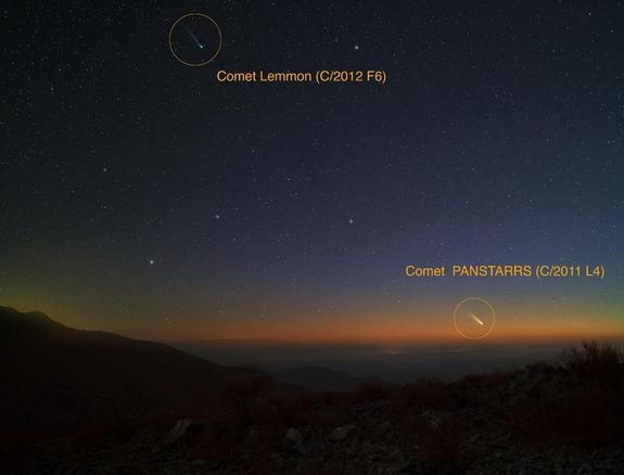 Yuri Beletsky, a Magellan Instrument Support Scientist at Las Campanas observatory located in Atacama Desert in Chile, used a Canon 5D Mark II camera with an exposure time of ~ 30 seconds on Feb. 28, 2013 to capture this image of Comets Pan-STARRS and Lemmon.