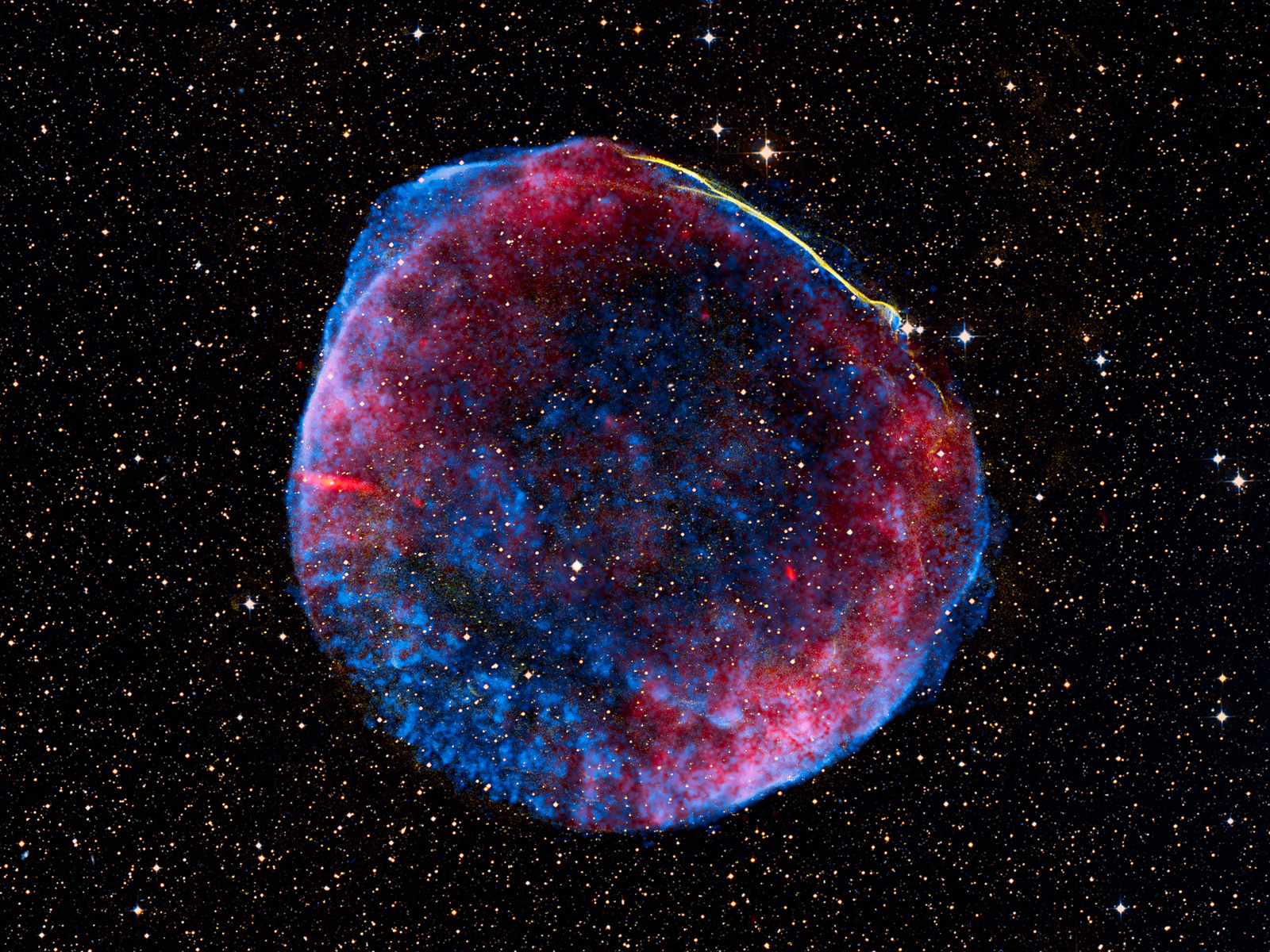 Remnant of Supernova Seen at Many Different Wavelengths 1600
