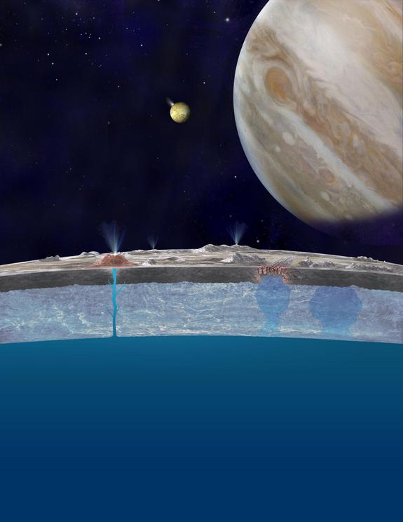 Based on new evidence from Jupiter's moon Europa, astronomers hypothesize that chloride salts bubble up from the icy moon's global liquid ocean and reach the frozen surface where they are bombarded with sulfur from volcanoes on Jupiter's moon Io.