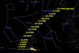 The path of Comet C/2011 L4 (Pan-STARRS) over the next month.