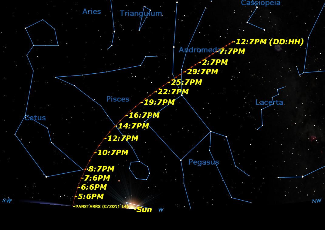 March 2013 Path of Comet C/2011 L4 (Pan-STARRS)