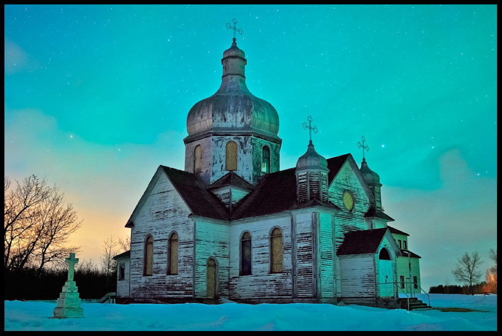 Aurora and Spaca Moskalyk Church in Alberta, Canada