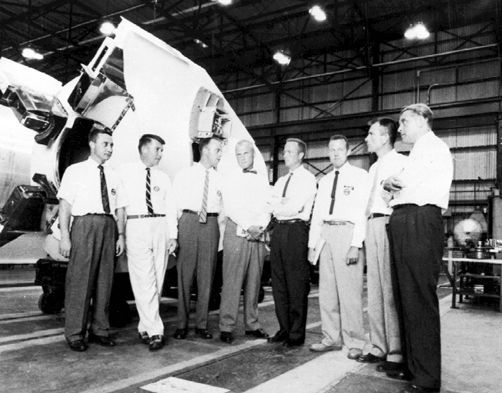 Dr. Von Braun, right, worked directly with America's first seven astronauts. This photo is believed to have been taken about 1959 in the Fabrication Laboratory of the Army Ballistic Missile Agency in Huntsville. The astronauts are, from left, Gus Grissom, Wally Schirra, Alan Shepard, John Glenn, Scott Carpenter, Gordon Cooper, and Deke Slayton.