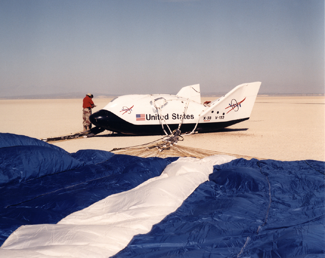Space History Photo: X-38 Lakebed Touchdown
