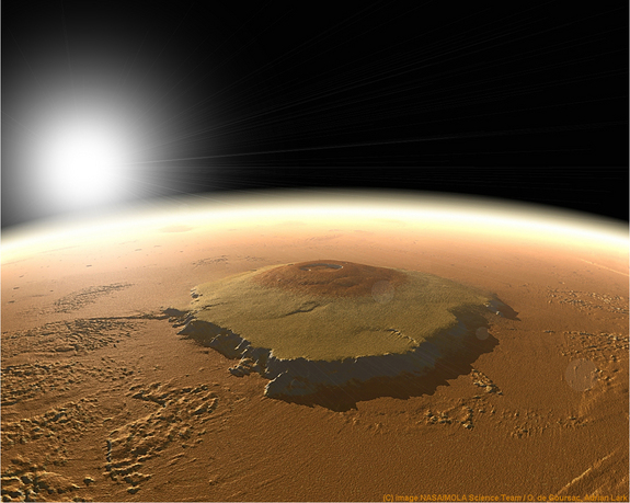 A computer-generated view of Olympus Mons.
