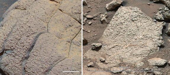 """This set of images compares rocks seen by NASA's Opportunity rover and Curiosity rover at two different parts of Mars. On the left is """" Wopmay"""" rock, in Endurance Crater, Meridiani Planum, as studied by the Opportunity rover. On the right are the rocks of the """"Sheepbed"""" unit in Yellowknife Bay, in Gale Crater, as seen by Curiosity. Image released March 12, 2013."""