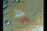 "This false-color map shows the area within Gale Crater on Mars, where NASA's Curiosity rover landed on Aug. 5, 2012 PDT (Aug. 6, 2012 EDT) and the location where Curiosity collected its first drilled sample at the ""John Klein"" rock. Image released March 12, 2013."