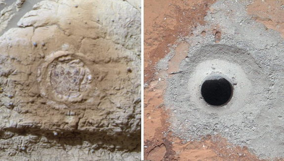 This set of images shows the results from the rock abrasion tool from NASA's Mars Exploration Rover Opportunity (left) and the drill from NASA's Curiosity rover (right). Note how the rock grindings from Opportunity are brownish red, indicating the presence of hematite, a strongly oxidized iron-bearing mineral. Image released March 12, 2013.