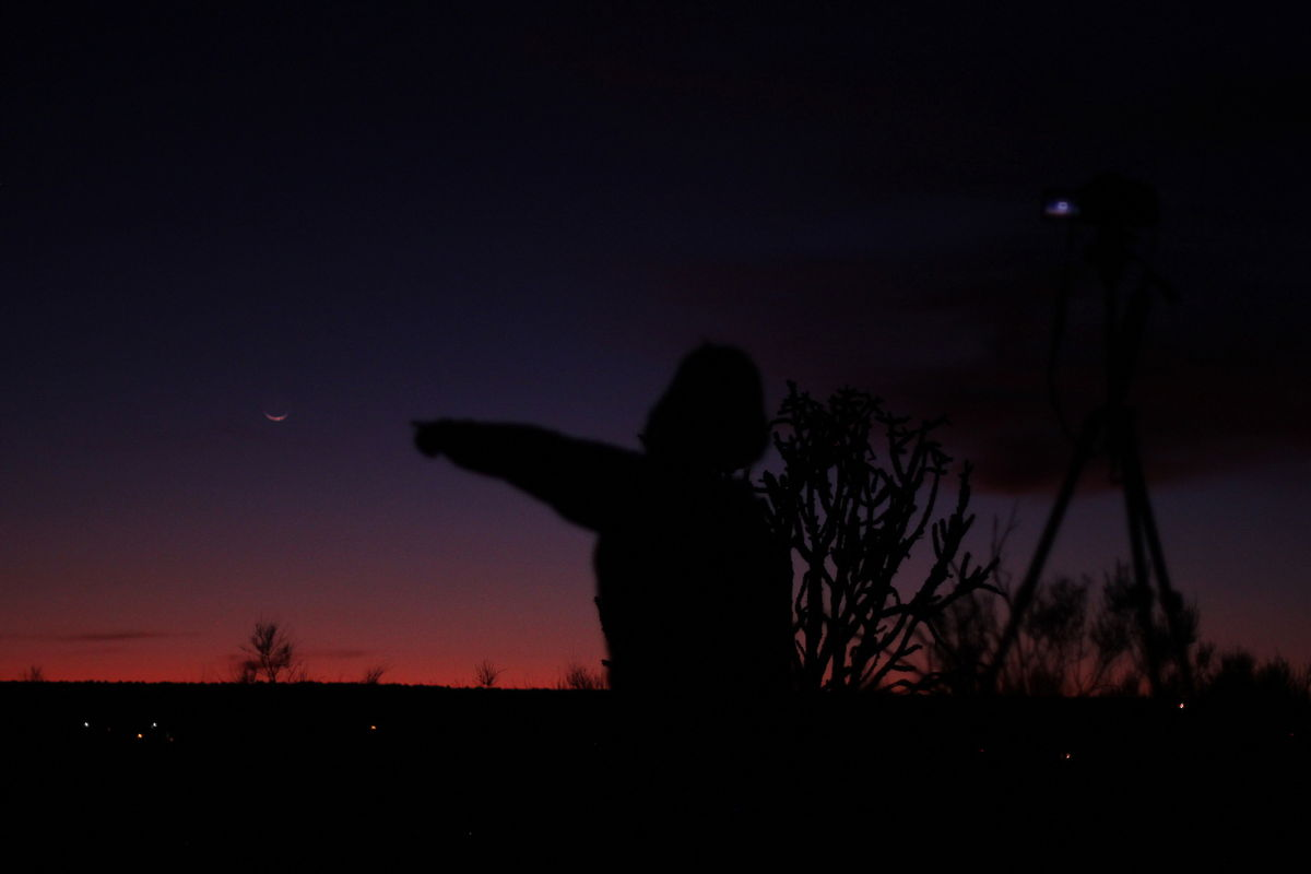 Crescent Moon With Aurora (Child) in New Mexico