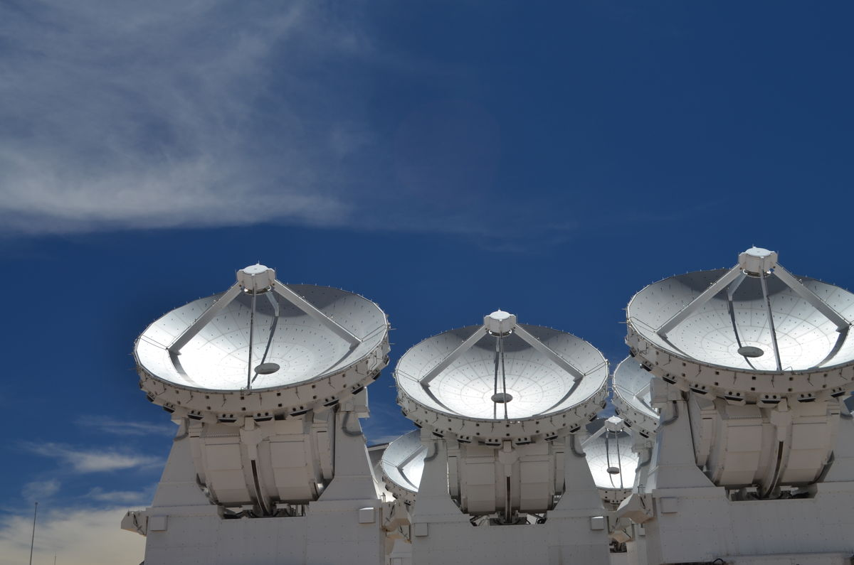 Three Dishes of ALMA Observatory