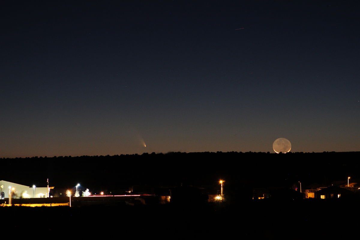 Moon, Comet Pan-STARRS and Church in Rio Rancho, NM