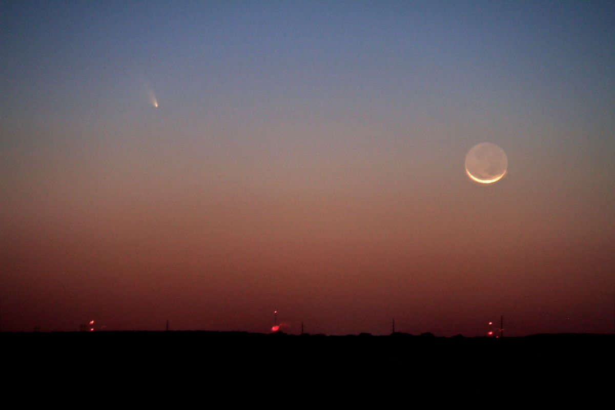 Comet Pan-STARRS and the Moon Over the Hill Country of Texas