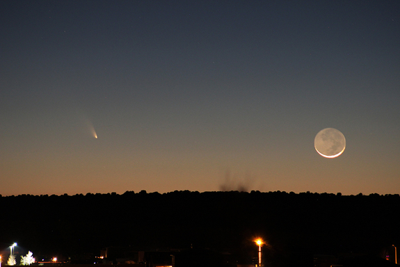 Astrophotographer Josh Knutson captured this amazing photo of Comet Pan-STARRS (left) and the crescent moon on March 12, 2013 just after a desert sunset near Rio Rancho, New Mexico.