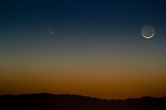 Astrophotographer Tyler Leavitt sent in a photo of the crescent moon and Comet Pan-STARRS over Las Vegas. Image submitted March 13, 2013.