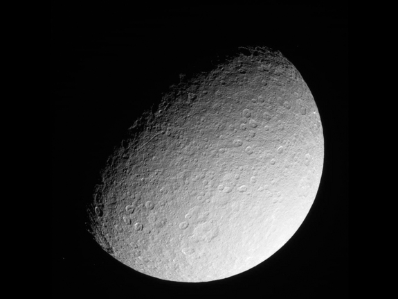 This raw image of Saturn's icy moon Rhea was taken on March 10, 2013 by NASA's Cassini spacecraft, and received on Earth March 10, 2013. The camera was pointing toward Rhea at approximately 174,181 miles (280,317 kilometers) away.