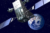 An artist's illustration of a Lockheed Martin-built Space Based Infrared System Geosynchronous (SBIRS) missile warning satellite for the U.S. military in orbit.