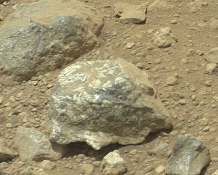 Bluish-Black Rock with White 'Crystals' on Mars