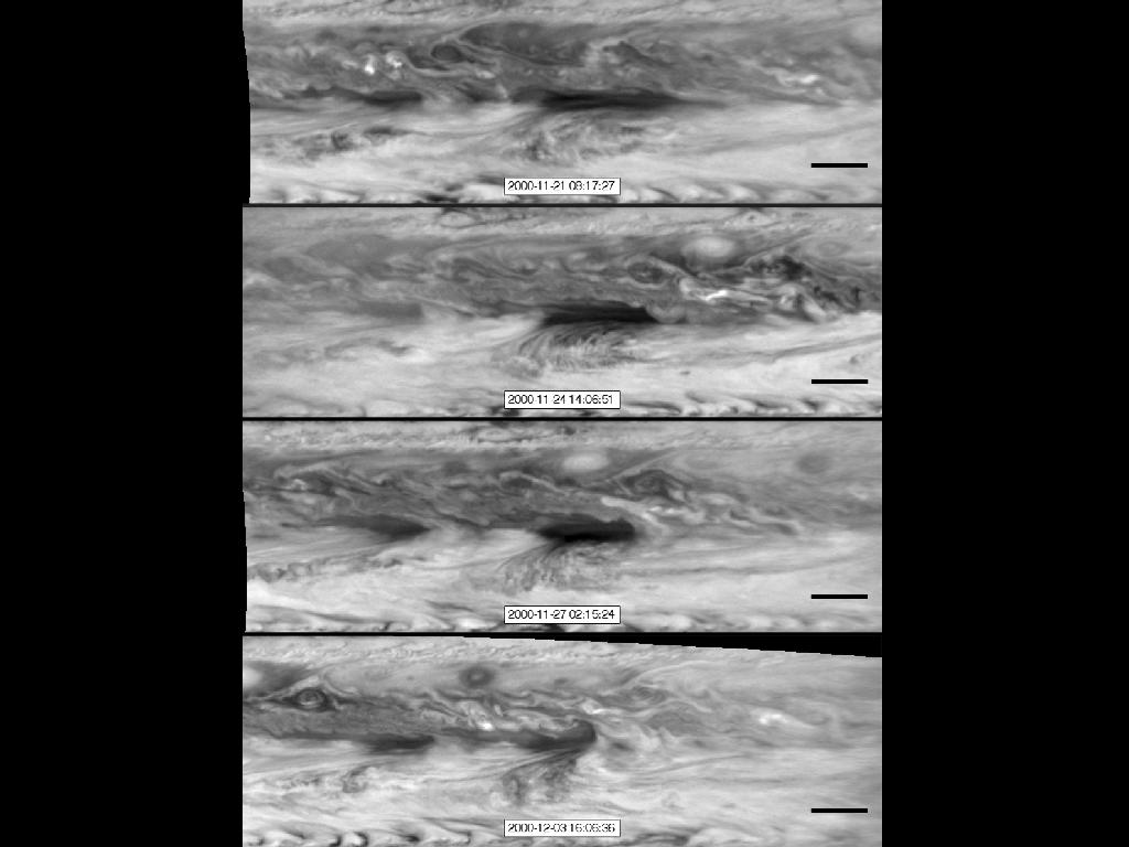 NASA's Cassini spacecraft images of hot spots in Jupiter's atmosphere in Nov. and Dec. 2000.