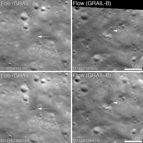 The twin GRAIL spacecraft impacted the Moon on 17 December 2012, LROC was able to image the impact craters on 28 February 2013 showing them both to be about 5 meters in diameter. Upper panels show the area before the impact; lower panels after the impact. Arrows point to crater locations. Image released March 19, 2013.
